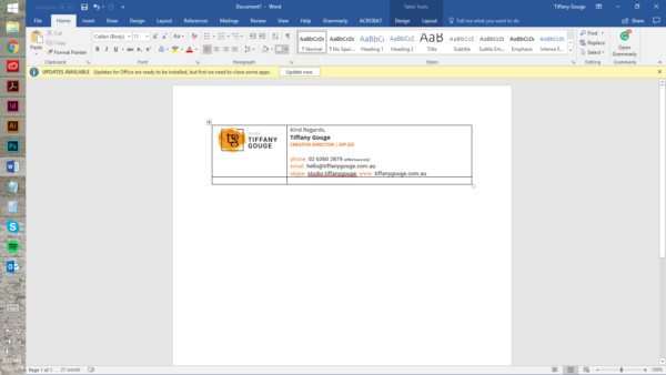 Step 2 - How to create an email signature in word