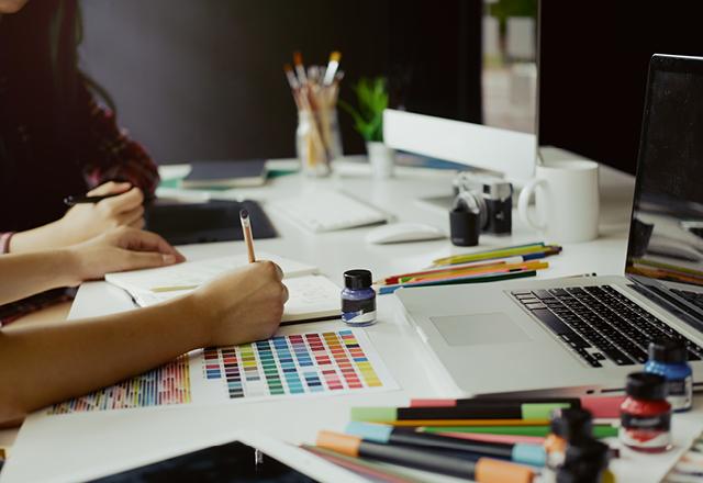 Designer working on a logo design