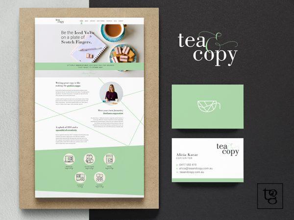 Logo, UI and Business card design for Tea & Copy