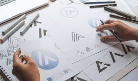 Logo sketches on a desk