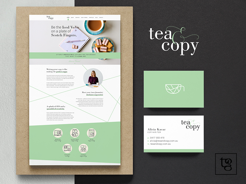 The new logo design, UI and business cards for Tea and Copy