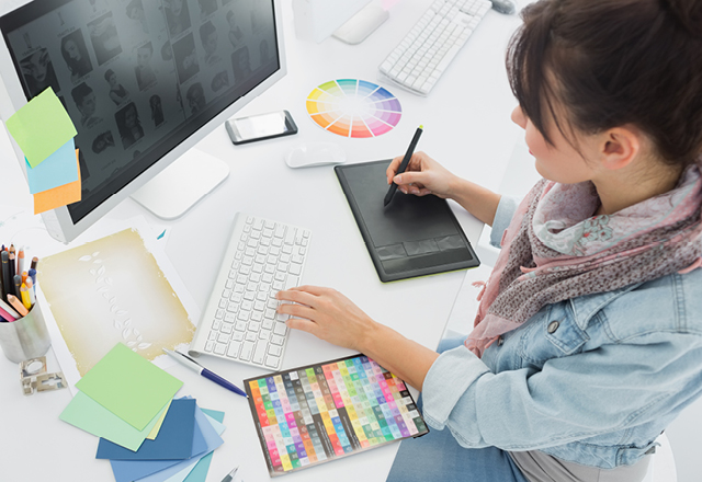 designer working on a computer