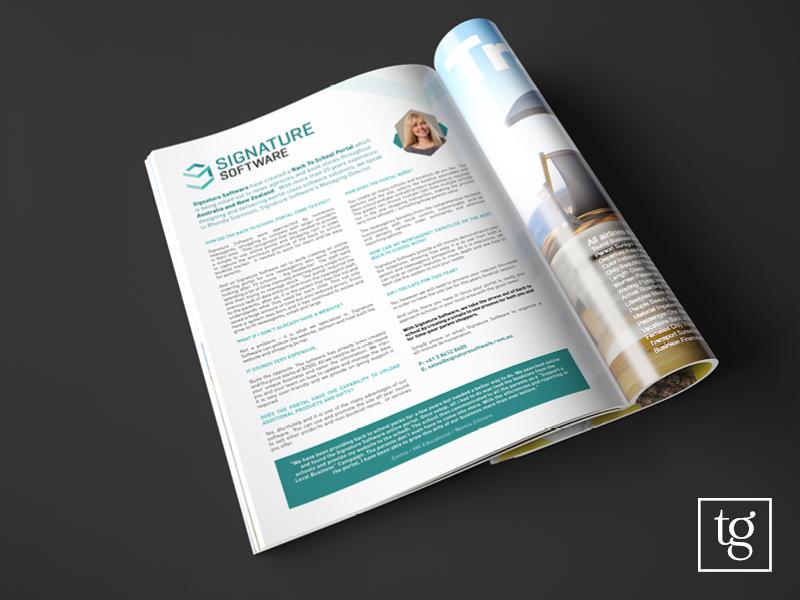 Signature software advertisement design